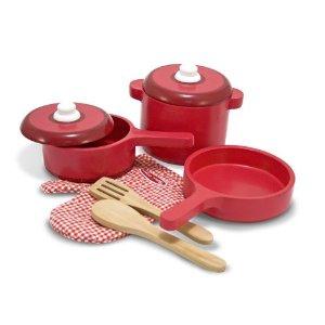 过家家、切切看玩具,Melissa & Doug 红色系列厨房玩具套装 $15
