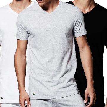美亚直邮好价,Lacoste Essentials Cotton 比马棉材质 男式V领T恤3件装$23.59,