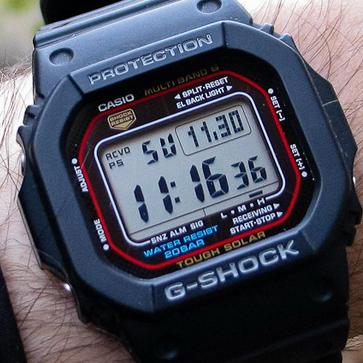 Casio GWM5610-1 G-Shock 经典红圈 六局太阳能电波手表$88,