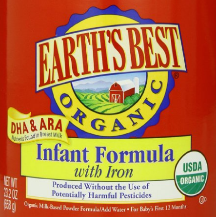 历史新低价!!Earths Best Organic 地球最好 含铁配方 有机婴幼儿奶粉658g*4罐$91.16,