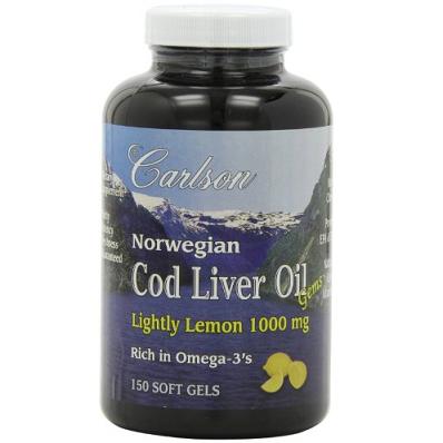 Carlson Labs美国卡尔森 挪威深海鱼肝油 柠檬味150粒$13.59,