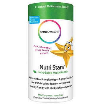 历史新低价!!Rainbow Light Nutri Stars系列 儿童综合维生素咀嚼片120粒$12.84,
