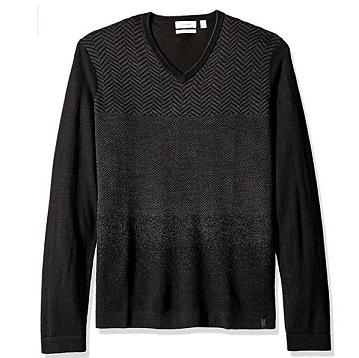 历史新低价!!Calvin Klein Merino Herringbone 男式美利奴羊毛混纺毛衣$44.50,