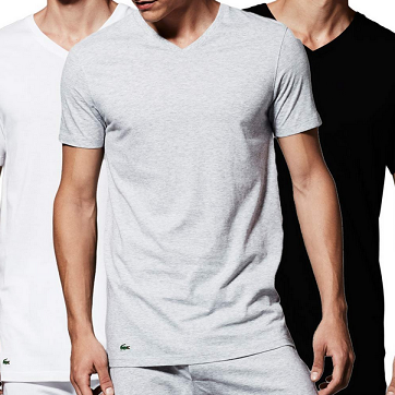 Lacoste Essentials Cotton 比马棉材质 男式圆领T恤3件$25.01,